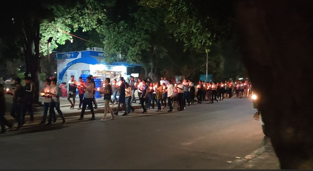 Students during the candle light march at the Army Institute of Law