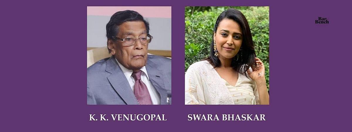 अटॉर्नी जनरल वेणुगोपाल ने स्वरा भास्कर के खिलाफ अवमानना कार्रवाई की सहमति से किया मना, याचिकाकर्ता की सॉलिसिटर-जनरल से गुहार
