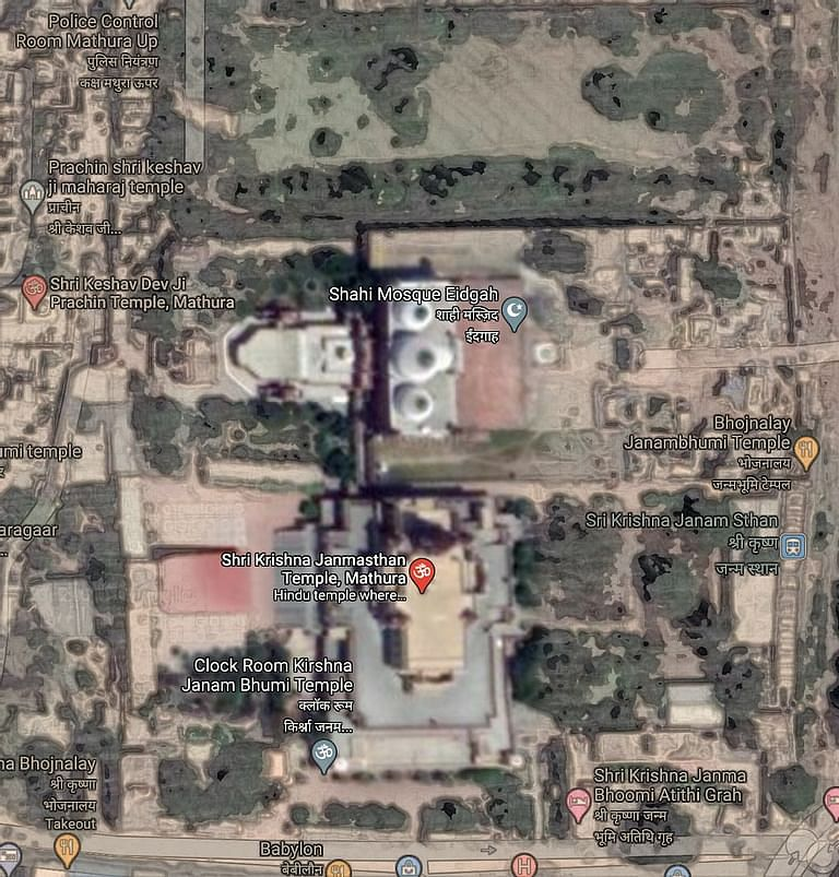 Google Map of the Temple and the adjacent Mosque
