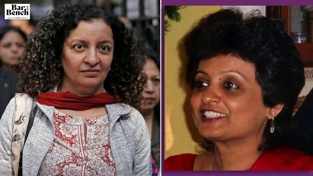 Geeta Luthra (R)and MJ Akbar (L)
