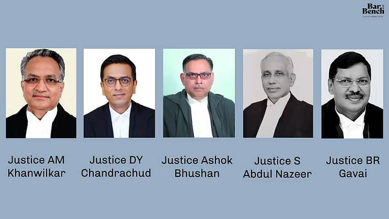Justice AM Khanwilkar, Justice DY Chandrachud, Justice Ashok Bhushan, Justice S Abdul Nazeer and Justice BR Gavai