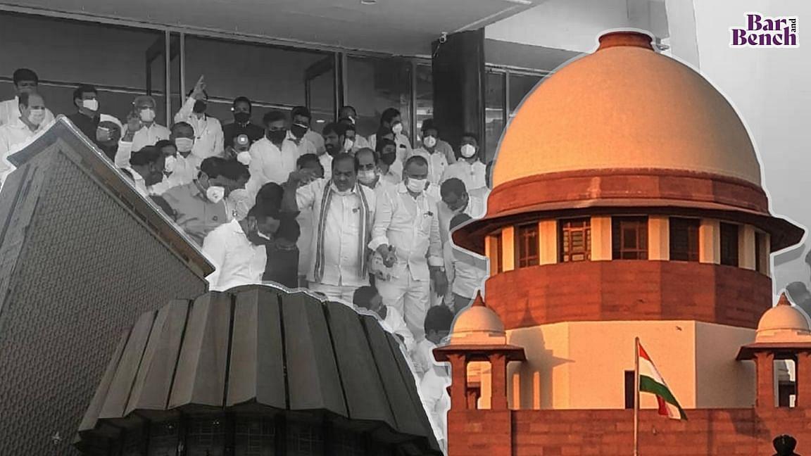 ಪ್ರತಿಪಕ್ಷದ ಬಲ ಕುಗ್ಗಿಸುವ ಉದ್ದೇಶಪೂರ್ವಕ ಯತ್ನ: ಸುಪ್ರೀಂ ಕೋರ್ಟ್ ಮೆಟ್ಟಿಲೇರಿದ ಅಮಾನತುಗೊಂಡ 12 ಬಿಜೆಪಿ ಶಾಸಕರು