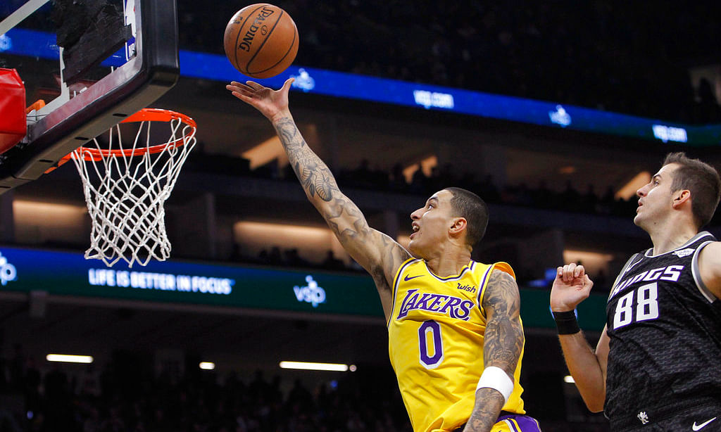 Los Angeles Lakers forward Kyle Kuzma appears to be one of the Lakers playing tonight against the Celtics.