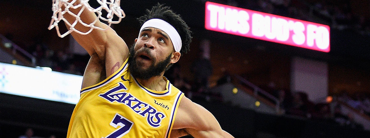 Los Angeles Lakers center JaVale McGee dunks against the Houston Rockets during the first half of an NBA basketball game Saturday, Jan. 19, 2019, in Houston. (AP Photo/Eric Christian Smith)