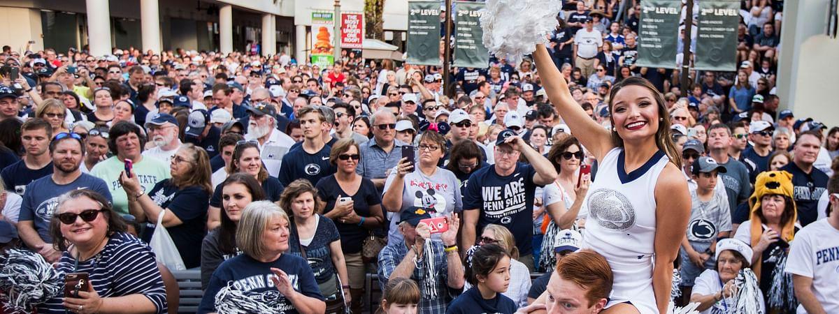 Penn State fans attend the Citrus Bowl college football game pep rally in Orlando, Fla., Monday, Dec. 31, 2018. (Joe Hermitt/The Patriot-News via AP)