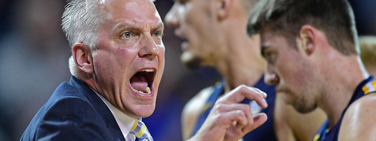 In this 2019 file photo, Toledo head coach Tod Kowalczyk reacts to a call during the first half of an NCAA college basketball game against Buffalo in Amherst, New York.