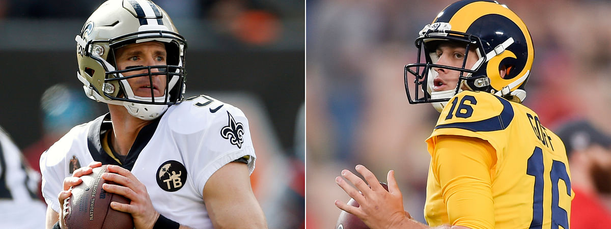 FILE - At left, in a Nov. 11, 2018, file photo, New Orleans Saints quarterback Drew Brees looks to pass in the first half of an NFL football game against the Cincinnati Bengals in Cincinnati. At right, in a Nov. 19, 2018, file photo, Los Angeles Rams quarterback Jared Goff warms up before an NFL football game against the Kansas City Chiefs in Los Angeles. The Rams and Saints will play in the NFC conference championship on Sunday, Jan. 20, in New Orleans. (AP Photo/File)