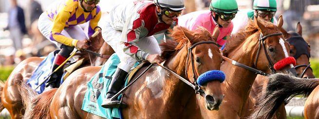 Horse racing at Santa Anita.