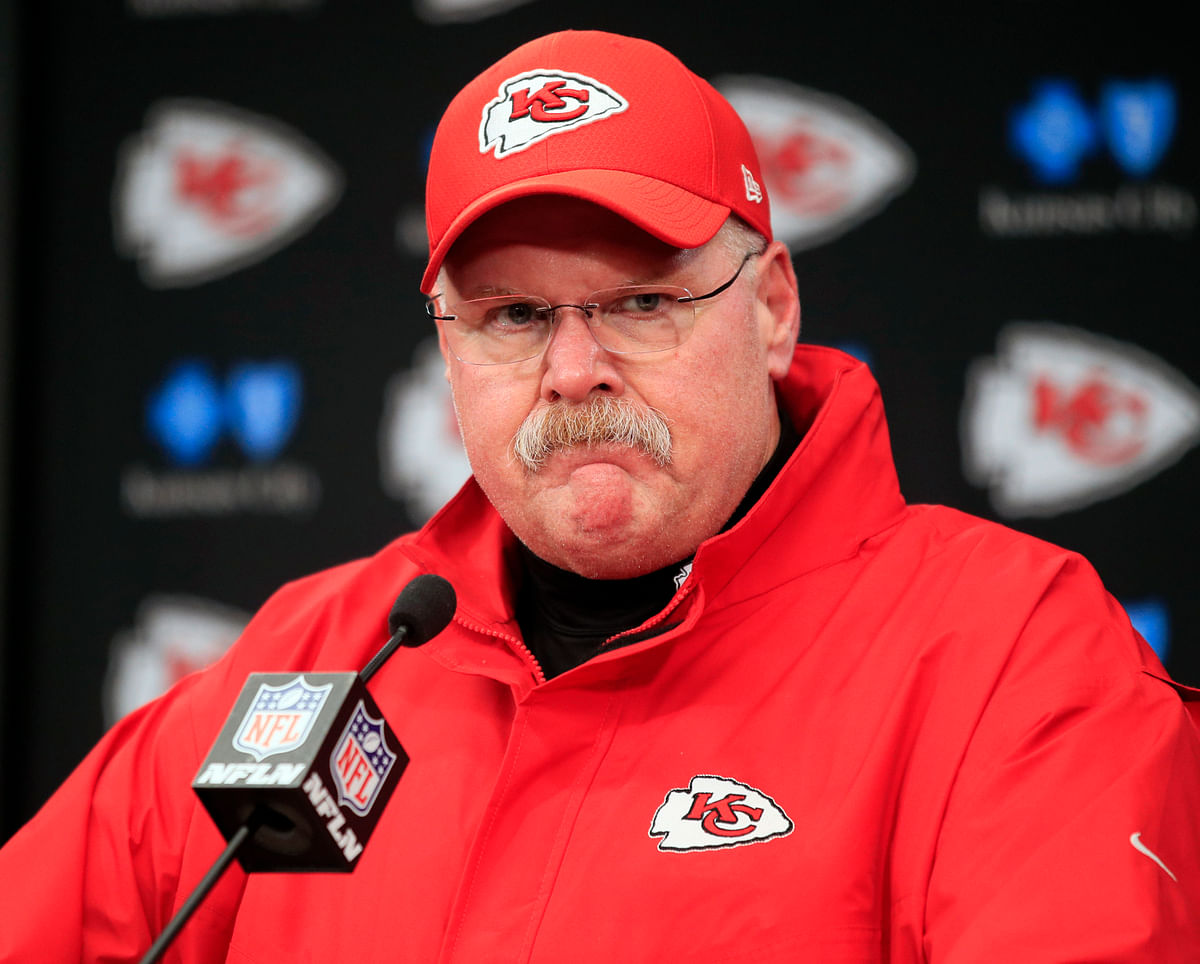 FILE - In this Jan. 12, 2019, file photo, Kansas City Chiefs coach Andy Reid is shown during a news conference following an NFL divisional football playoff game against the Indianapolis Colts, in Kansas City, Mo. There is perhaps nobody under greater pressure to win this postseason than Chiefs coach Andy Reid, whose Hall of Fame-worthy resumes includes everything but a Super Bowl triumph. (AP Photo/Ed Zurga, File)