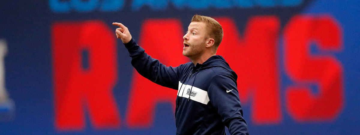 Los Angeles Rams head coach Sean McVay directs his players during a practice for the NFL Super Bowl 53 football game against the New England Patriots Wednesday, Jan. 30, 2019, in Flowery Branch, Ga. (AP Photo/John Bazemore)