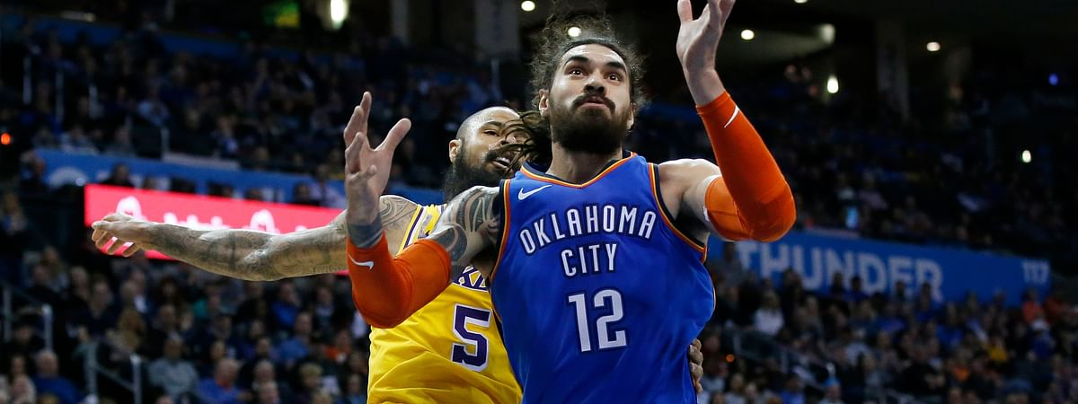 Oklahoma City Thunder center Steven Adams in action against the Lakers last season. (AP Photo/Sue Ogrocki)