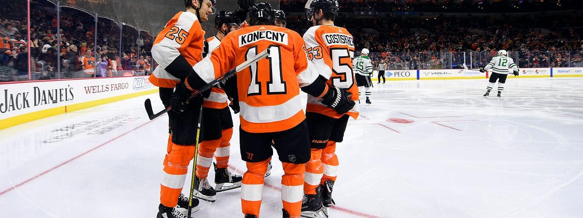 Will the Philadelphia Flyers' Travis Konecny (11) celebrate a goal tonight? it's about time.