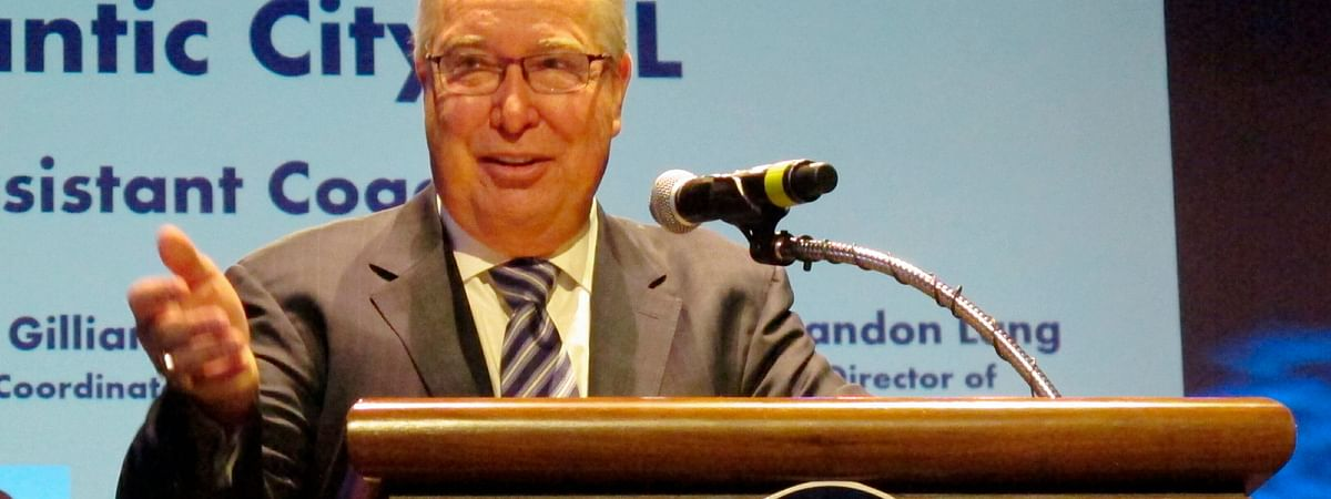 Former Philadelphia Eagles quarterback Ron Jaworski, now part of an ownership group in the Arena Football League, speaking at a news conference Thursday, Feb. 21, 2019. (Wayne Parry)
