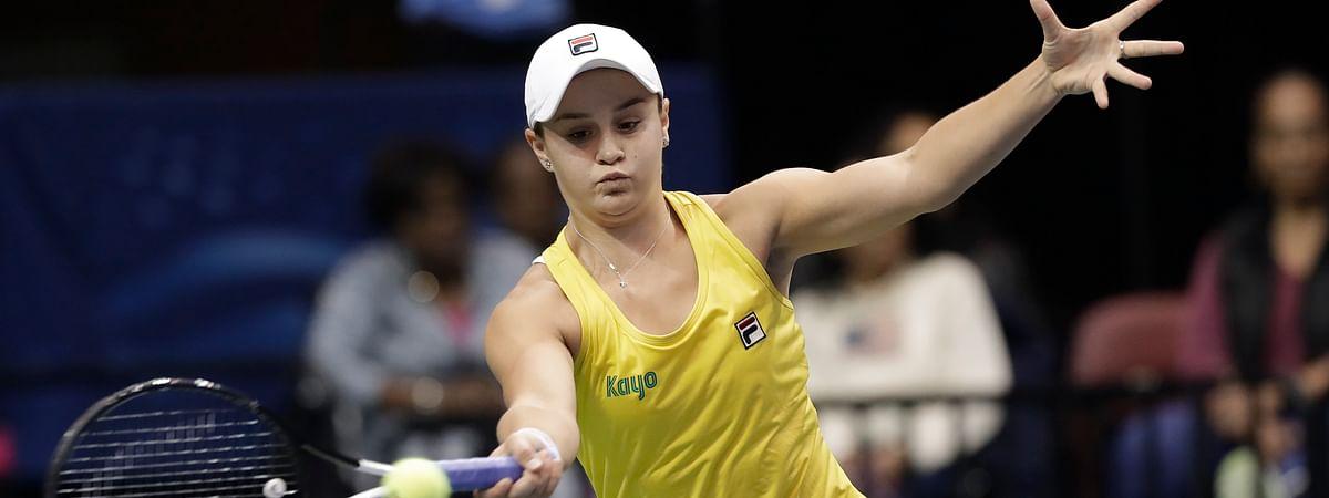 Australia's Ashleigh Barty defeated Viktoria Kuzmova, Slovakia, 4-6, 6-3, 6-4,  (AP Photo/Chuck Burton)