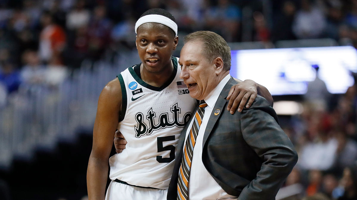 Michigan State guard Cassius Winston and head coach Tom Izzo on Friday (Patrick Semansky)