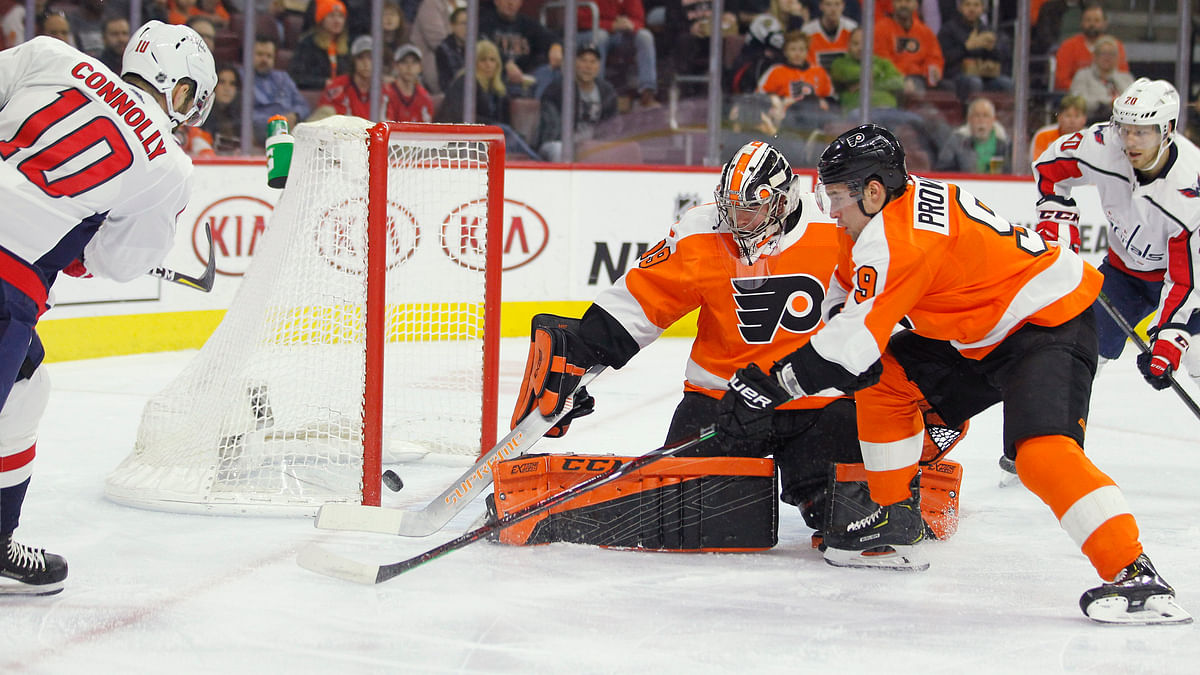Flyers goalie Carter Hart has played well at home.