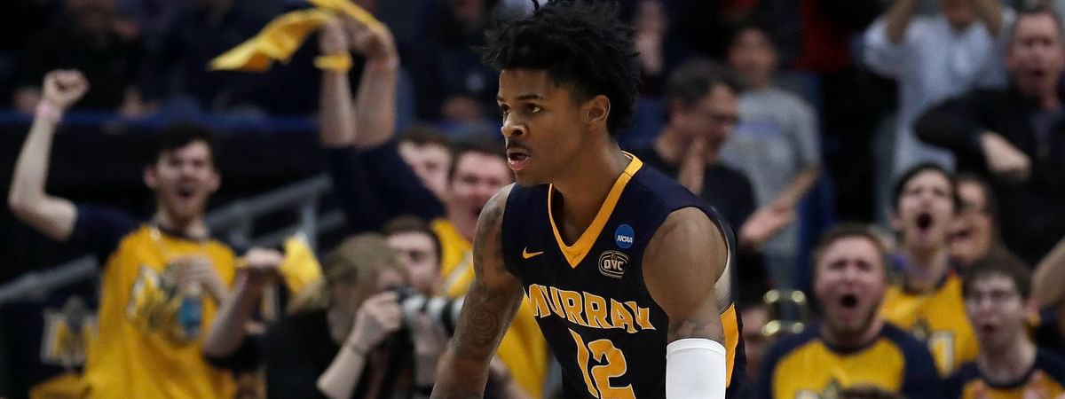 Fans cheer as Murray State's Ja Morant celebrates a basket during the first round men's college basketball game against Marquette in the NCAA Tournament on March 21, 2019.