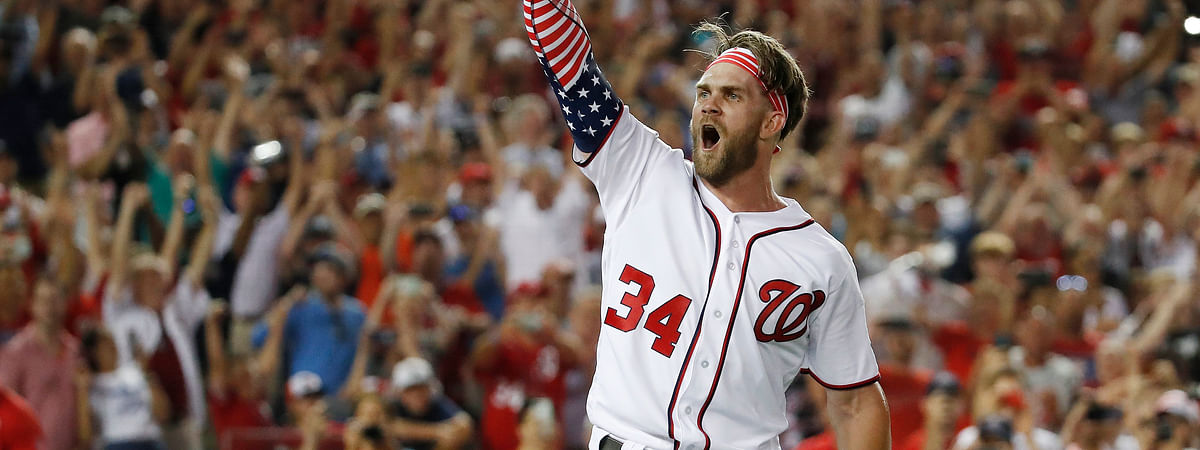 Washington Nationals Bryce Harper reacts to his winning hit during the Major League Baseball Home Run Derby. (Alex Brandon, File)