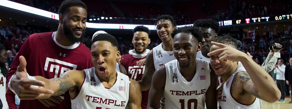 Temple celebrates after beating Central Florida 67-62, Saturday, March 9, 2019, in Philadelphia. (AP Photo/Chris Szagola)