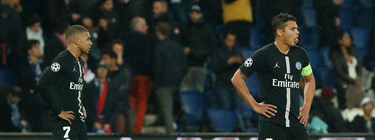 PSG defender Thiago Silva, right, and PSG forward Kylian Mbappe hope to take out their Champions League frustrations on Dijon in Ligue 1 action. (AP Photo/Thibault Camus)