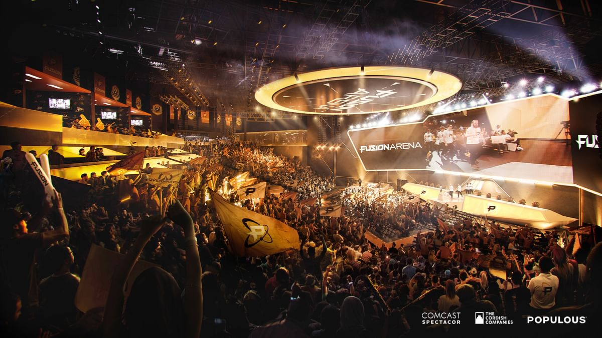 An interior rendering of Fusion Arena, a 3500-seat esports venue coming to the Philadelphia Sports Complex.