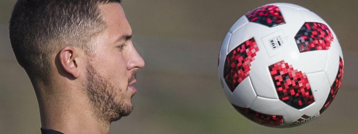 Belgium's Eden Hazard attends an official training of Belgium on July 1, 2018.