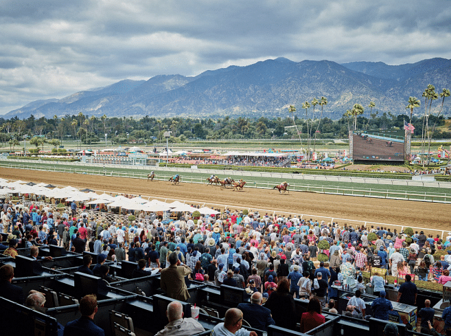 Won't this view at Santa Anita look nice if you've won the first four legs of the Stronach 5 and that's your horse in front?