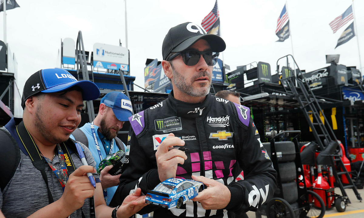 Jimmie Johnson will be honored this weekend at the NASCAR race at Auto Club Speedway. He's retiring at the end of the year. (AP Photo/LM Otero)