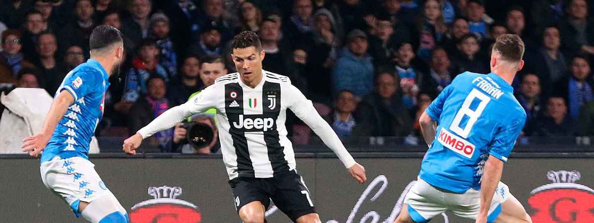 Juventus' Cristiano Ronaldo goes for the ball during the match between Napoli and Juventus, March 3, 2019. (Cesare Abbate/ANSA via AP)
