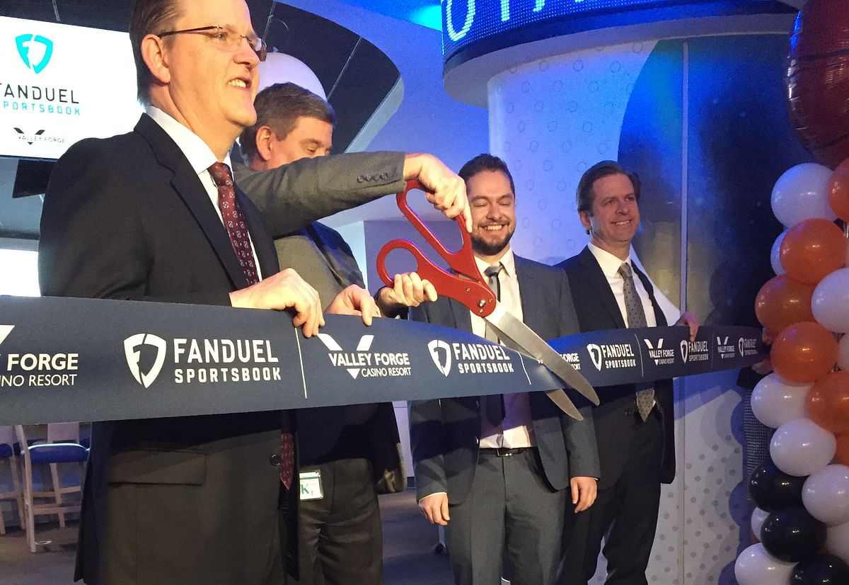 The traditional ribbon cutting marked the opening of the Fanduel Sports Book at the  Valley Forge Casino.
