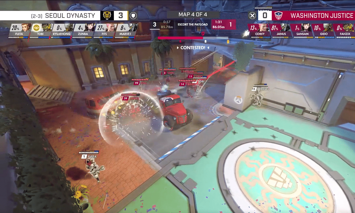 The Washington Justice battle Seoul Dynasty in Saturday action.