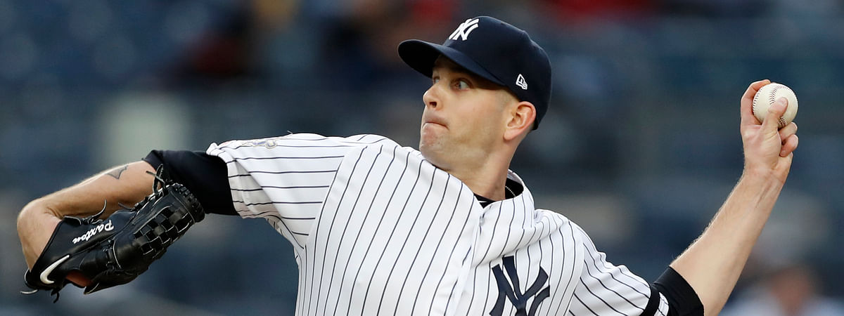 New York Yankees starting pitcher James Paxton delivers during the first inning of the team's baseball game against the Boston Red Sox on April 16, 2019.
