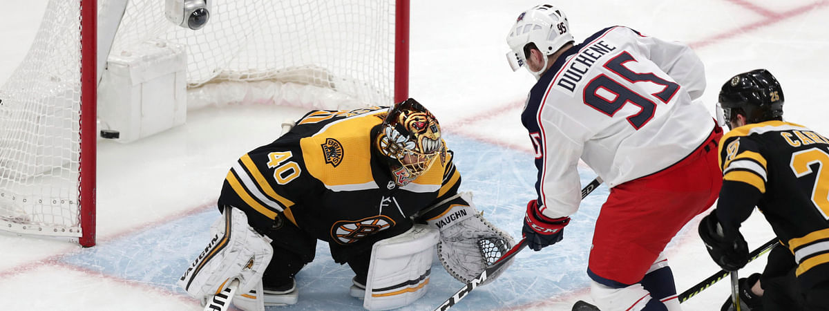 Blue Jackets center Matt Duchene  shoots the game-wining goal past Boston Bruins goaltender Tuukka Rask  during the second  overtime of Game 2 on  April 28 (Charles Krupa)