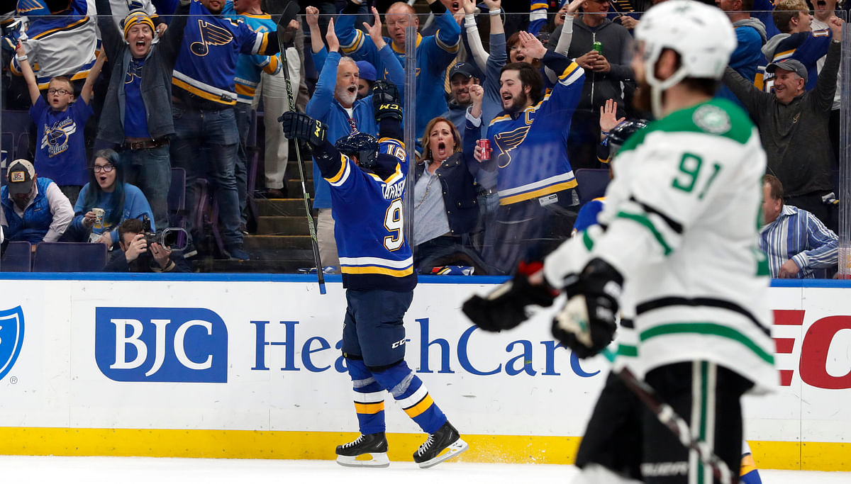 Blues' Vladimir Tarasenko celebrates his goal in Game 1 on April 25 (Jeff Roberson)