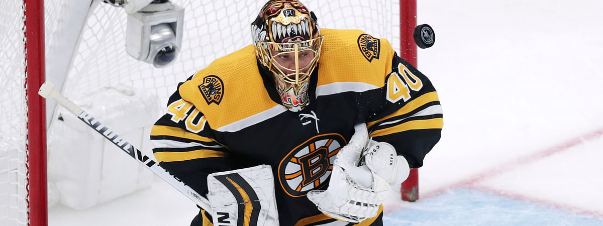 Boston Bruins goaltender Tuukka Rask makes a save during the third period of Game 7 of an NHL hockey first-round playoff series against the Toronto Maple Leafs, Tuesday, April 23, 2019, in Boston.