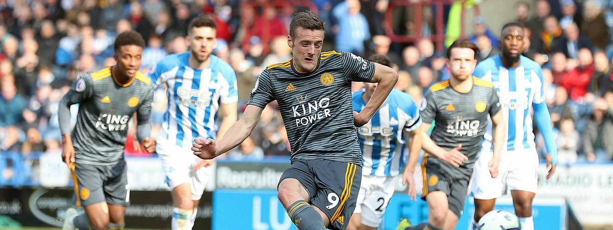 Leicester City's Jamie Vardy scores against Huddersfield Town during the English Premier League soccer match on April 6, 2019.