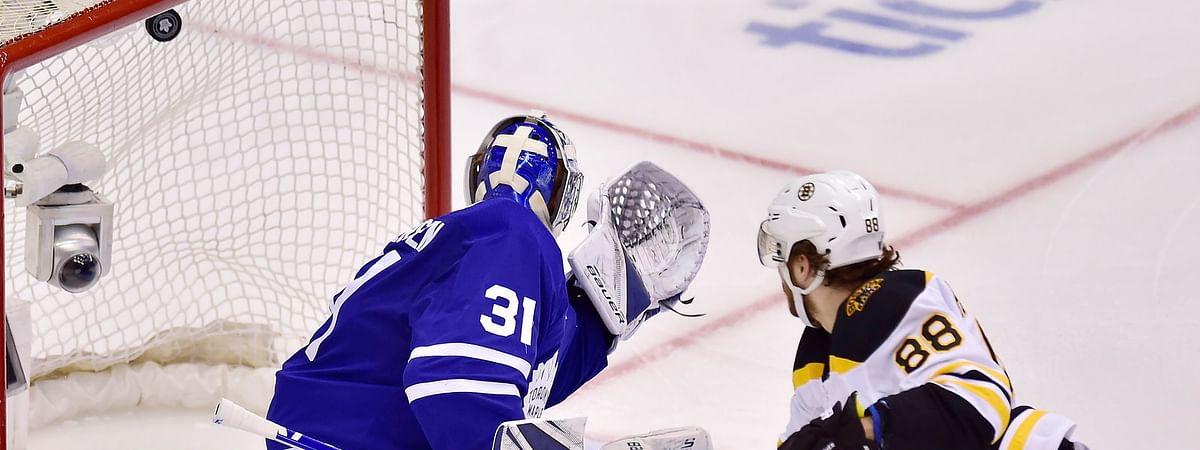 Bruins right wing David Pastrnak (88) scores on Toronto goaltender Frederik Andersen Wednesday (Frank Gunn/The Canadian Press)