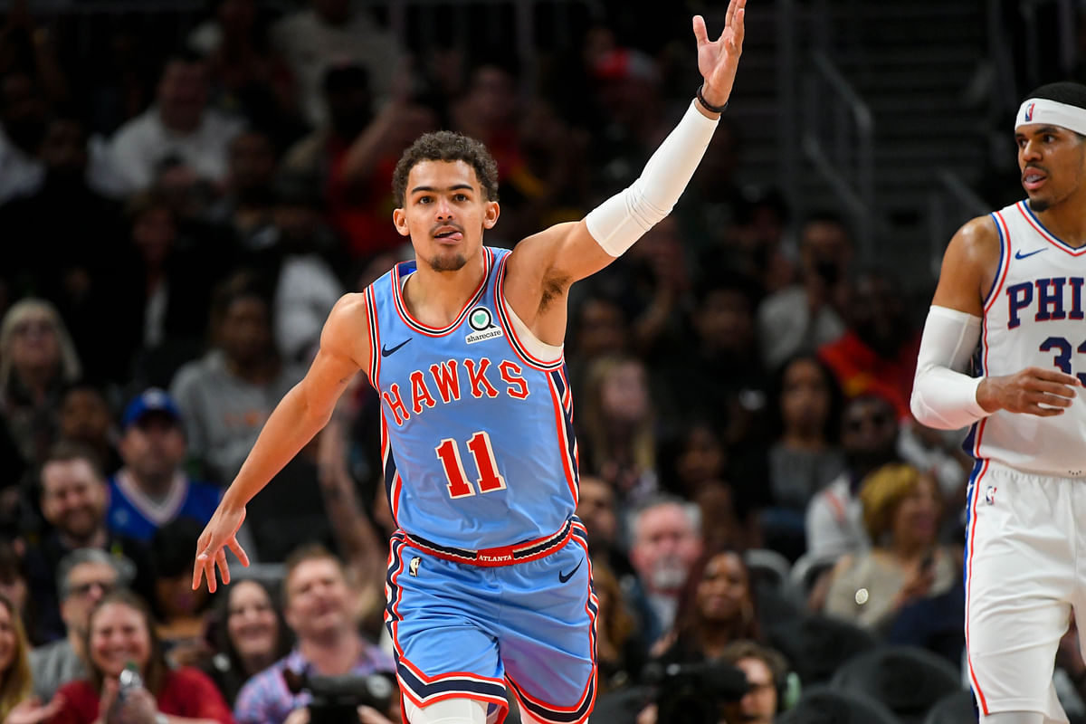 Atlanta's Trae Young reacts after scoring on Sixers April 3, Philadelphia's second visit to Atlanta in 12 days (John Amis)