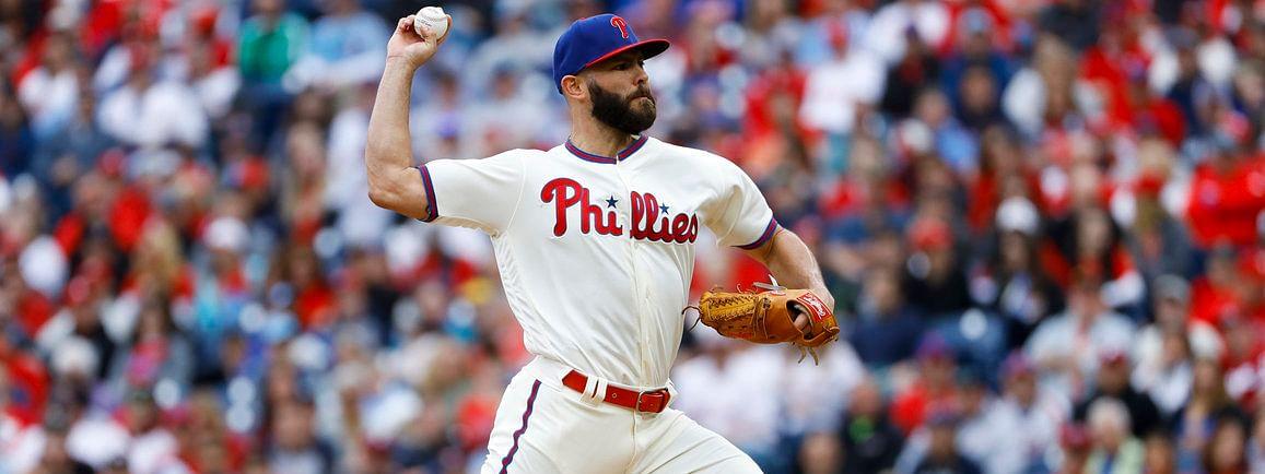 Phillies' Jake Arrieta throws in his last start, April 17 against the Mets (Matt Slocum)