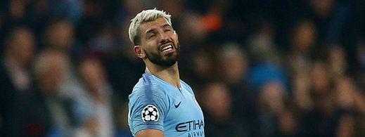 Manchester City's Sergio Aguero reacts after the final whistle for them to be defeated on away goals and knocked out after the Champions League quarterfinal against Tottenham April 17 (Dave Thompson)