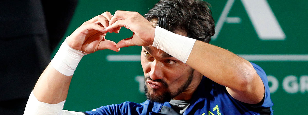 Italy's Fabio Fognini will reportedly play in the Ultimate tennis Showdown in June.  (AP Photo/Claude Paris)