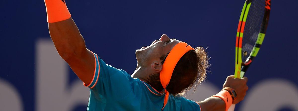 Rafael Nadal celebrates winning against Jan-Lennard Struff during a quarterfinal match at the Barcelona Open, Spain, Friday, April 26, 2019. (AP Photo/Manu Fernandez)