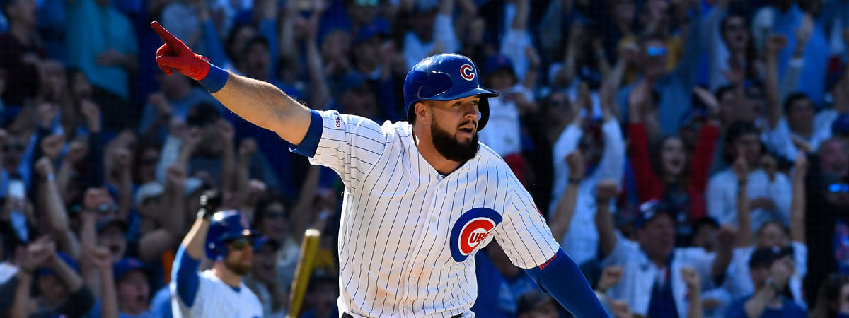 Chicago Cubs' David Bote reacts after hitting a walk-off single during the ninth inning of a baseball game against the Arizona Diamondbacks on April 21, 2019.