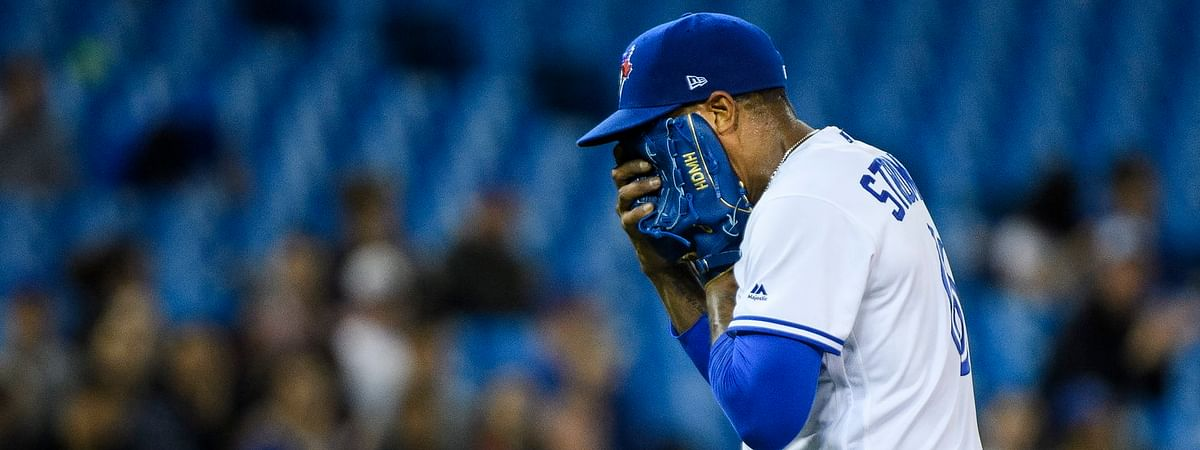 Blue Jays starting pitcher Marcus Stroman reacts as he leaves his April 2 start against the Orioles (Nathan Denette/The Canadian Press)