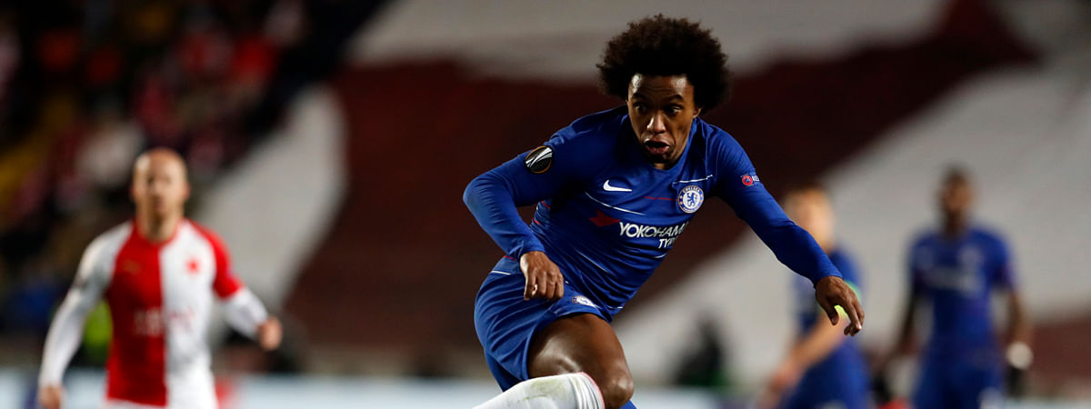Chelsea's Willian kicks the ball during the UEFA Europa League quarterfinal soccer match between Slavia Prague and Chelsea on April 11, 2019.