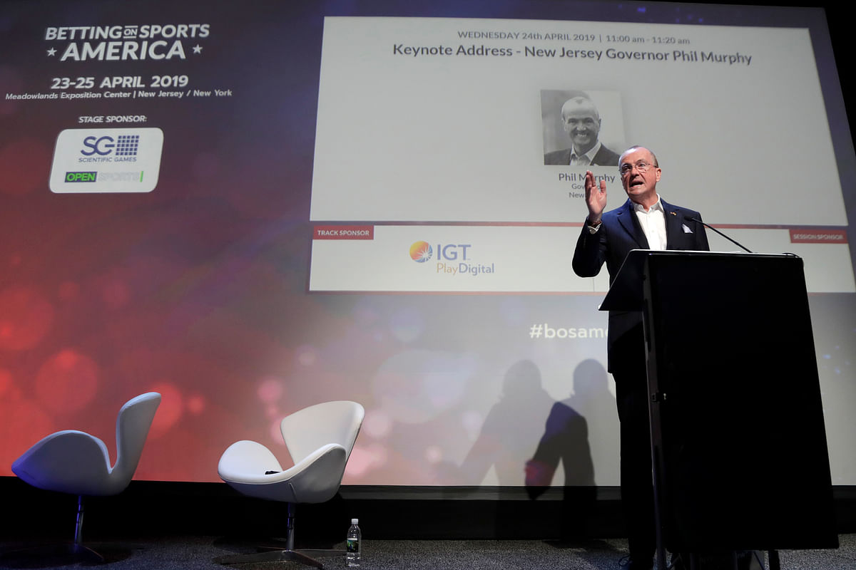 New Jersey Gov. Phil Murphy addresses an audience at the Betting On Sports America conference, Wednesday, April 24, 2019, in Secaucus, N.J. Murphy predicted New Jersey's fast growing sports betting market could surpass that of Nevada by next year.