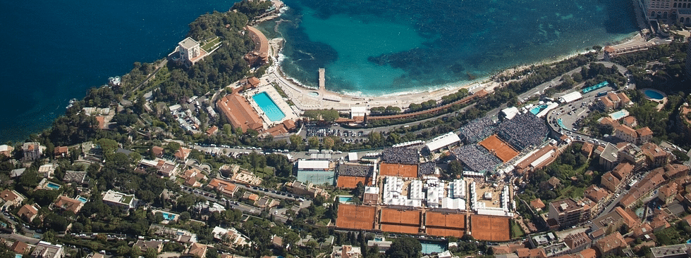Overhead shot of the clay courts of Monte Carlo,