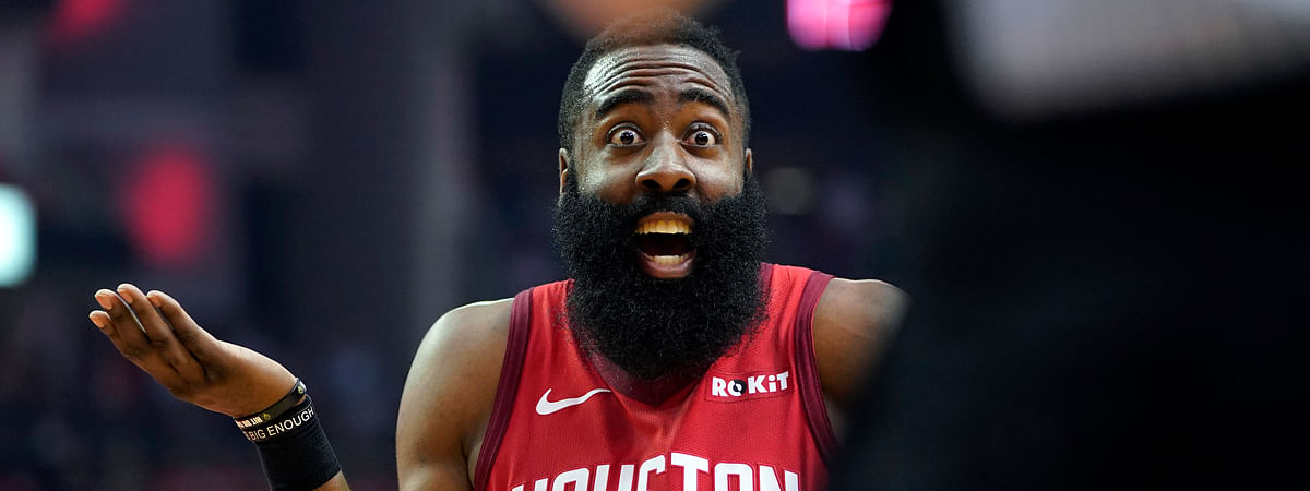 Houston Rockets guard James Harden reacts to an official's call during the first half in Game 5 of an NBA basketball playoff series against the Utah Jazz on April 24, 2019.
