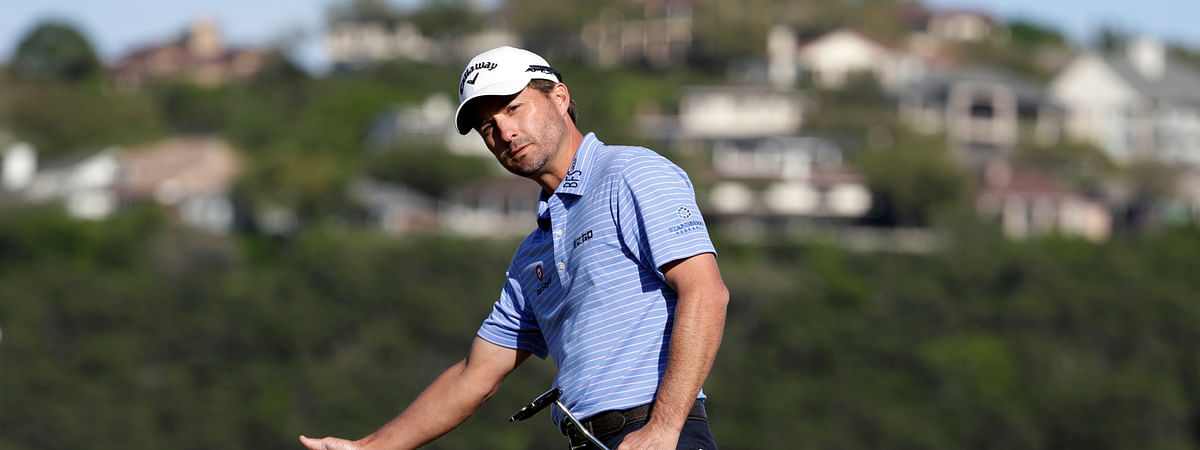 Kevin Kisner reacts to his putt on the 15th hole during the finals against Matt Kuchar at the Dell Technologies Match Play Championship golf tournament, on March 31, 2019.