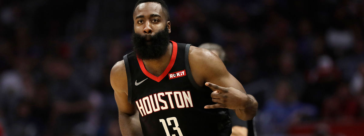 Houston Rockets' James Harden reacts after making a 3-point basket against the Los Angeles Clippers, Wednesday, April 3, 2019. (AP Photo/Marcio Jose Sanchez)
